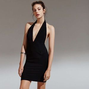 Solace London Plunging Black Halter Dress